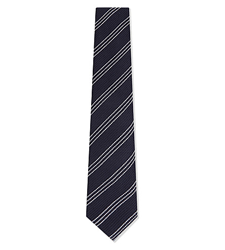 CORNELIANI Diagonal stripe woven cotton and silk tie (Navy+2