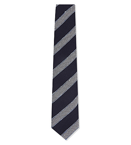 CORNELIANI Diagonal stripe woven cotton and silk tie (Navy