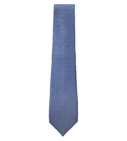 CORNELIANI Grid silk tie (Blue