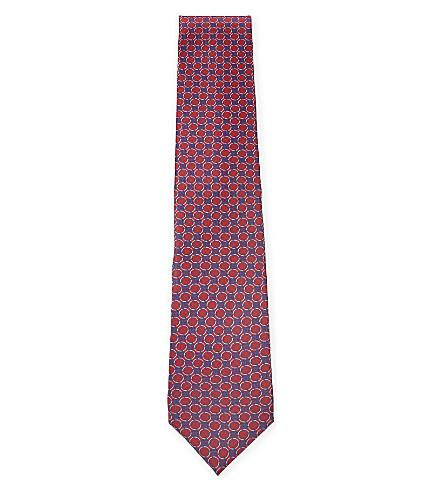 CORNELIANI Geometric silk tie (Pink+2