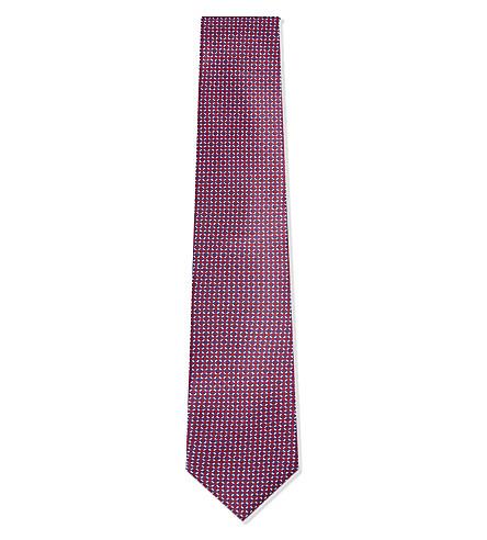 CORNELIANI Geometric silk tie (Pink