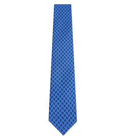 CORNELIANI Circle silk tie (Blue+2