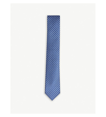 CORNELIANI Polka-dot silk tie (Navy