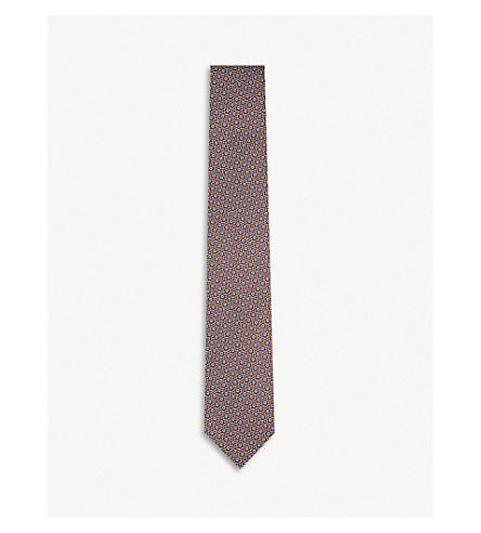 CORNELIANI Geometric-print silk tie (Brown