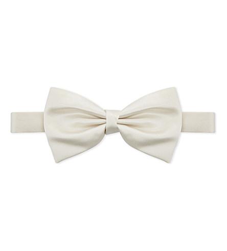 CORNELIANI Silk bow tie (White
