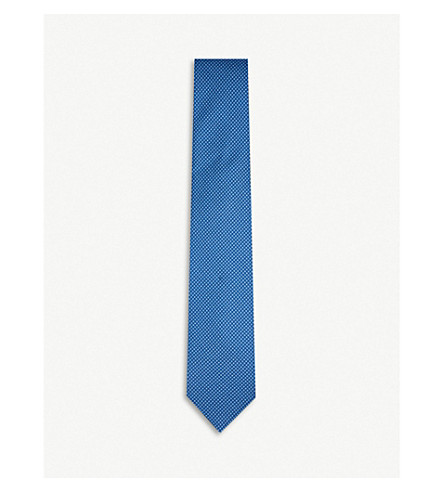 CORNELIANI Dots-print silk tie (Blue