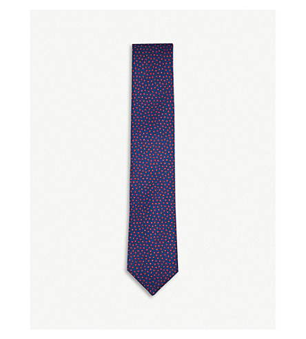 CORNELIANI Floral silk tie (Navy