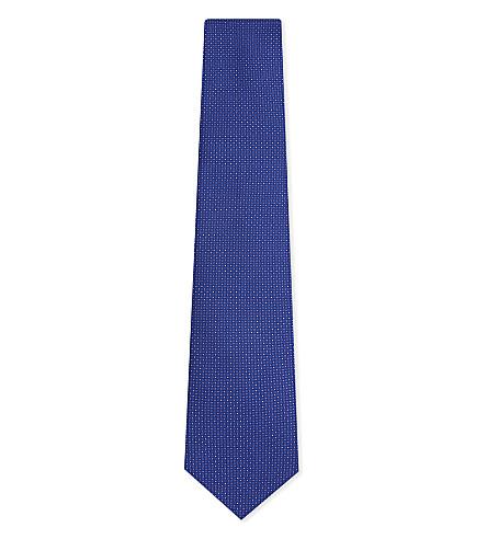 CORNELIANI Square and pindot silk tie (Blue