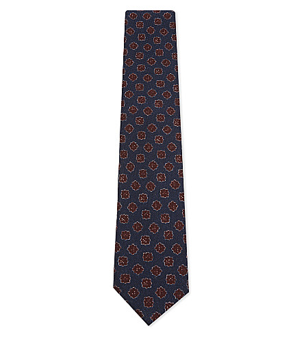 CORNELIANI Flower tile wool-silk tie (Navy/burg