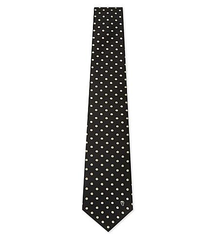 ALEXANDER MCQUEEN Tonal spot and skull silk tie (Black/ivory