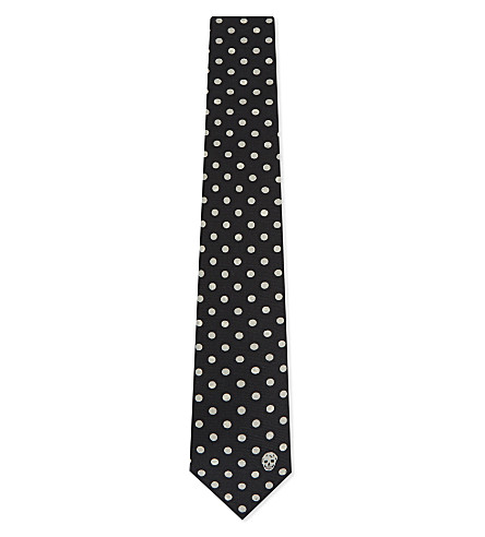 ALEXANDER MCQUEEN Medium polka dot silk tie (Black/ivory