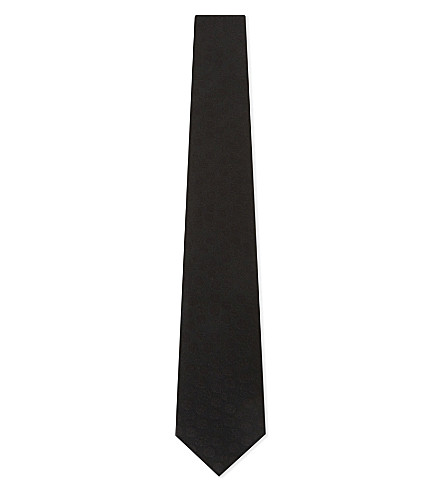 ALEXANDER MCQUEEN Tonal embroidered skull silk tie (Black