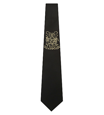 ALEXANDER MCQUEEN Coat of Arms silk tie (Black/silver