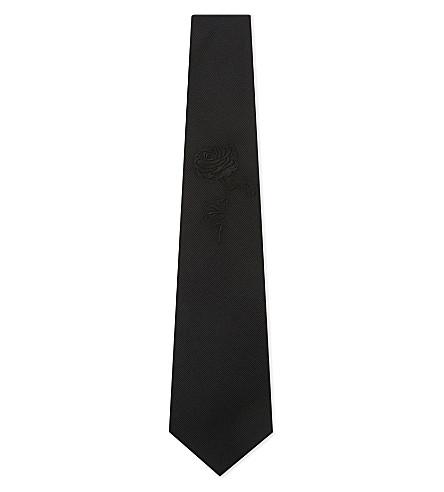 ALEXANDER MCQUEEN Embroidered rose silk tie (Grey/black