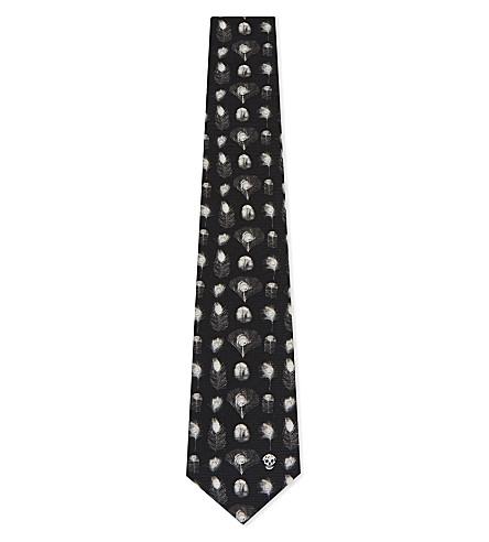 ALEXANDER MCQUEEN Multi feather silk tie (Black/ivory