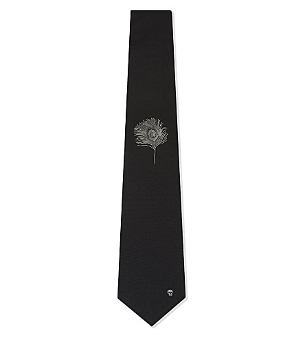 ALEXANDER MCQUEEN Single peacock feather silk tie (Black/ivory