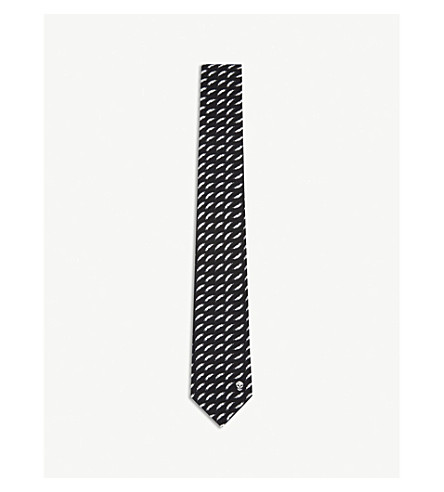 ALEXANDER MCQUEEN Floating feather and skull silk tie (Black+ivory