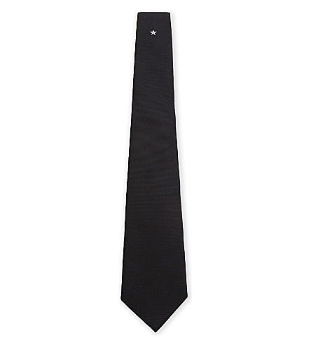 GIVENCHY Solid star silk tie (Black/white