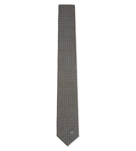 GIVENCHY Dot-stitch silk tie (Kaki/grey/white
