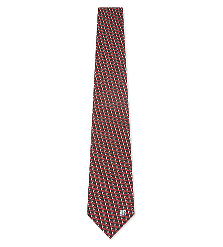 GIVENCHY Triangle pattern silk tie (Black/red/white