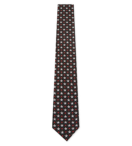 GIVENCHY Star and cross silk tie (Black/white/red