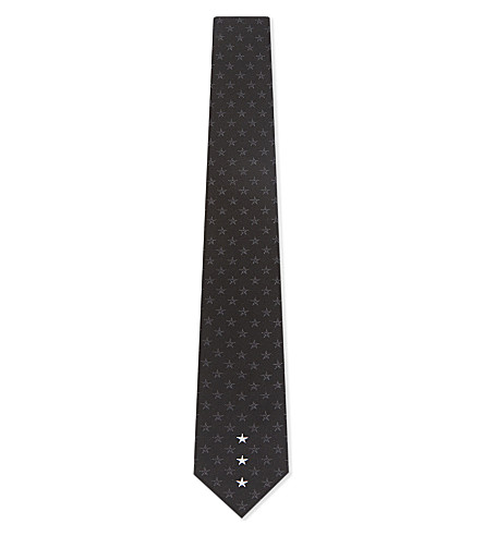 GIVENCHY Ethced multi-star silk tie (Black/white