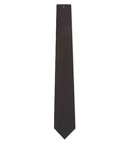 GIVENCHY Star silk tie (Black/red