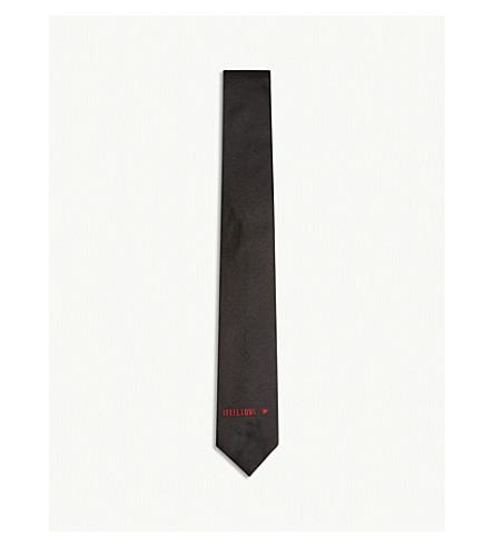 GIVENCHY I Feel Love twill silk tie (Black+red