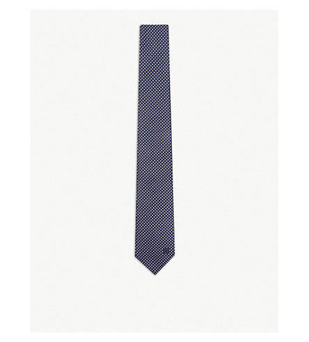 GIVENCHY Metallic diamond silk tie (Black/blue