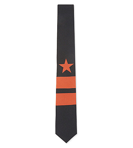 GIVENCHY Star & stripes cotton tie (Black/red