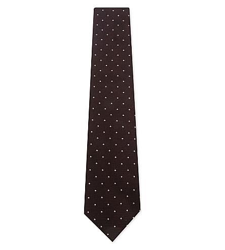 DRAKES Grenadine polka-dot silk tie (Bordeaux