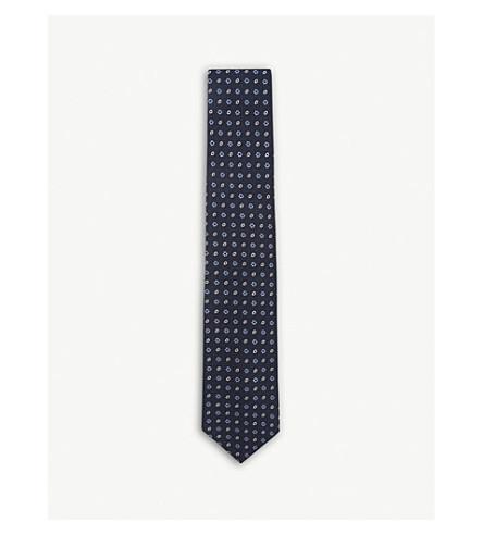 DRAKES Medallion print grenadine silk tie (Navy+blue+white