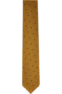 DRAKES Polka dot textured silk tie
