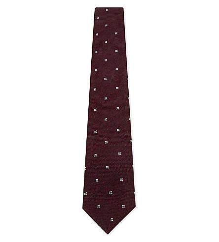 DRAKES Shantung silk tie (Bordeaux