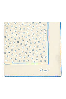 DRAKES Square print pocket square