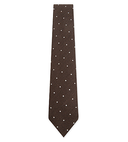 DRAKES Polka dot wool and silk-blend tie (Brown