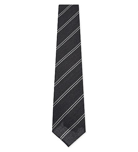 DRAKES Double stripe textured wool-silk tie (Grey
