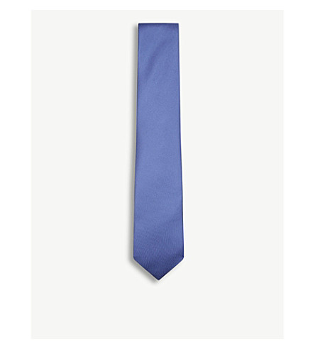 DRAKES Solid twill silk tie (Airforce