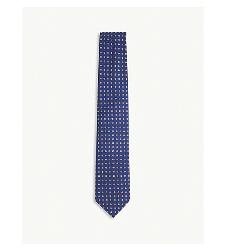 DRAKES Flowerhead silk tie (Navy+orange