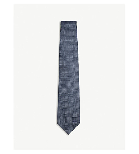 DRAKES Plain grenadine silk tie (Airforce