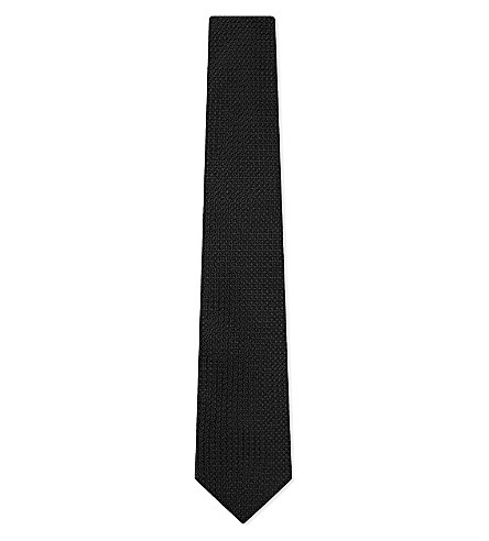 DRAKES Plain grenadine silk tie (Black