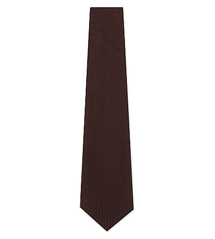 DRAKES Solid textured silk tie (Burgundy