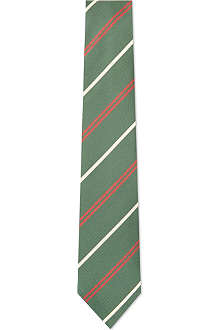 DRAKES Diagonal bar striped silk tie