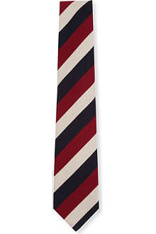 DRAKES Repp regular-stripe tie