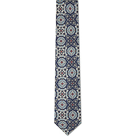DRAKES Mixed print silk tie (Navy