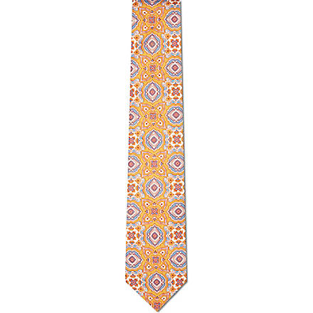 DRAKES Mixed print silk tie (Orange