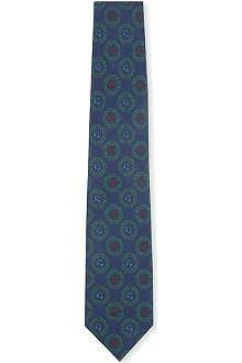 DRAKES Octagon tile print silk tie