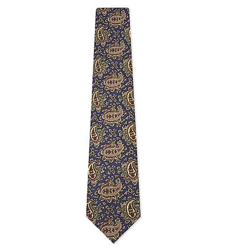 DRAKES Paisley silk tie (Blue