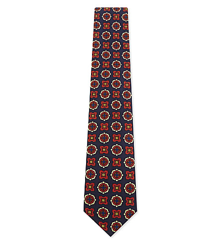 DRAKES Medallion silk tie (Blue