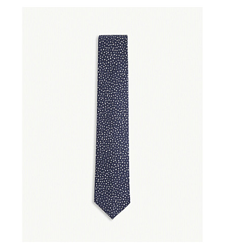 DRAKES Abstract-spot silk tie (Navy